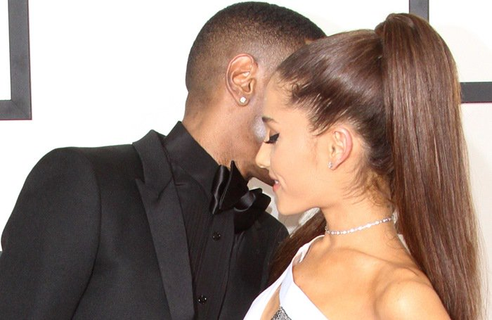 Ariana Grande and Big Sean on the red carpet at the 2015 Grammy Awards held at the Staples Center in Los Angeles on February 8, 2015