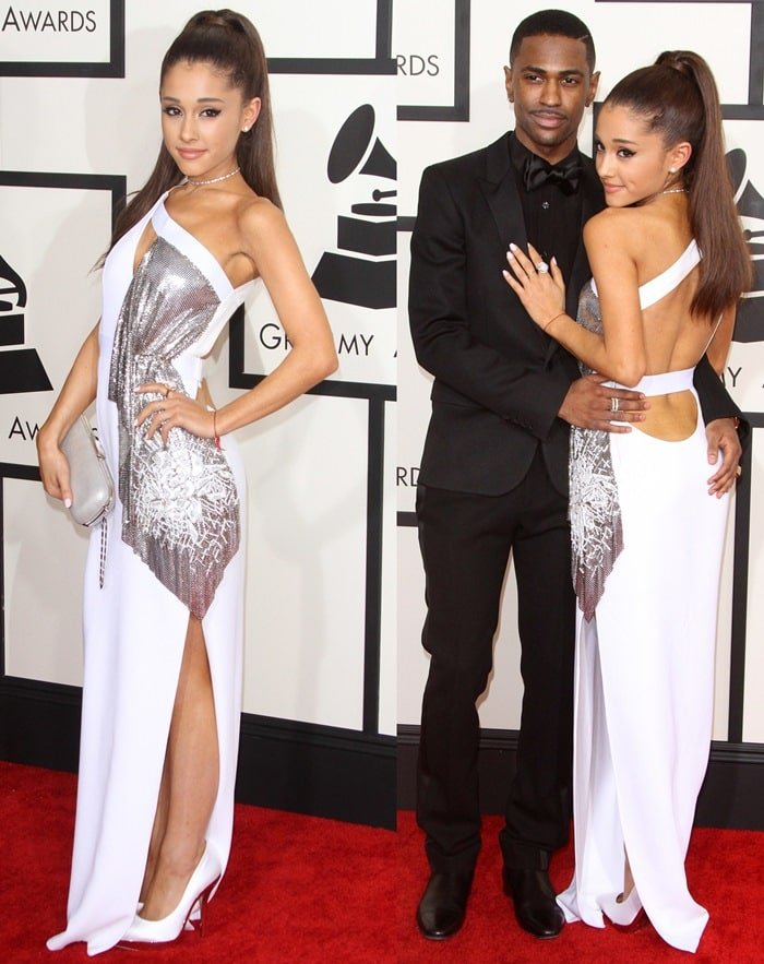 Ariana Grande flashed her legs in a Versace gown