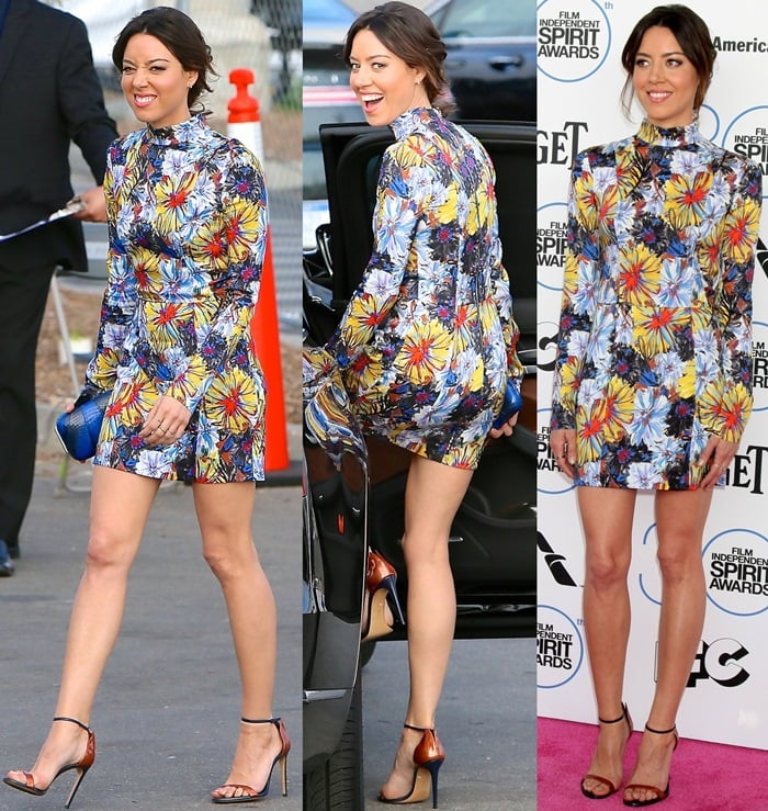 Aubrey Plaza paraded her legs in a colorful mini dress with an eye-catching floral pattern