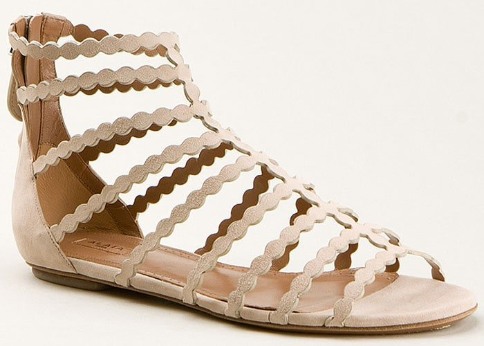 Azzedine Alaia Laser-Cut Suede Flat Cage Sandals