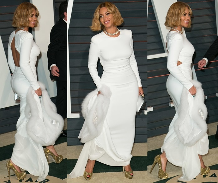 Beyoncé Giselle Knowles-Carter in a white Stella McCartney dress featuring an open back