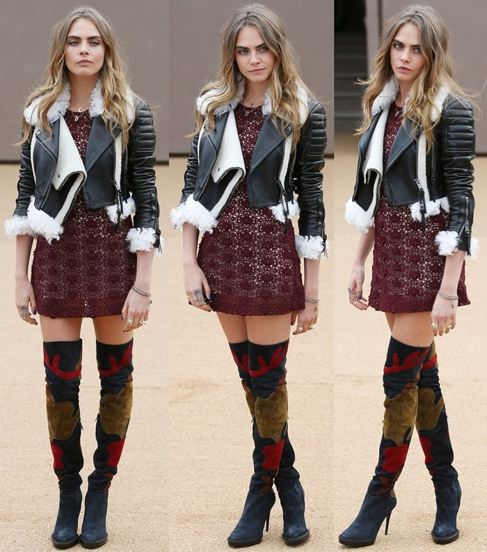 Cara Delevingne's red lace mini dress and Burberry over-the-knee boots