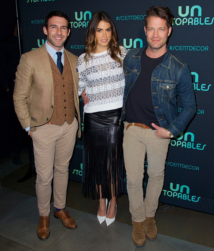 Carlos Huber, Nikki Reed, and Nate Berkus at the launch of Unstopables home fragrance at Maison 24 in New York City on February 19, 2015