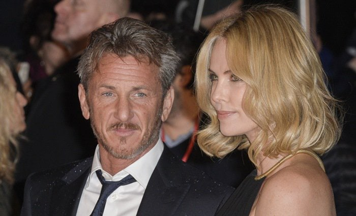 Charlize Theron and Sean Penn at the premiere of The Gunman held at BFI Southbank in London on February 16, 2015