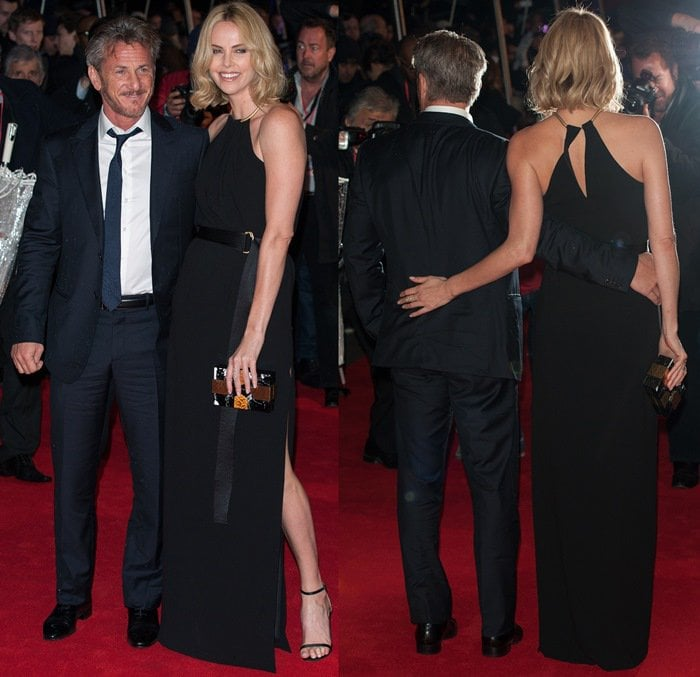 Charlize Theron in a classy black Halston Heritage halter gown