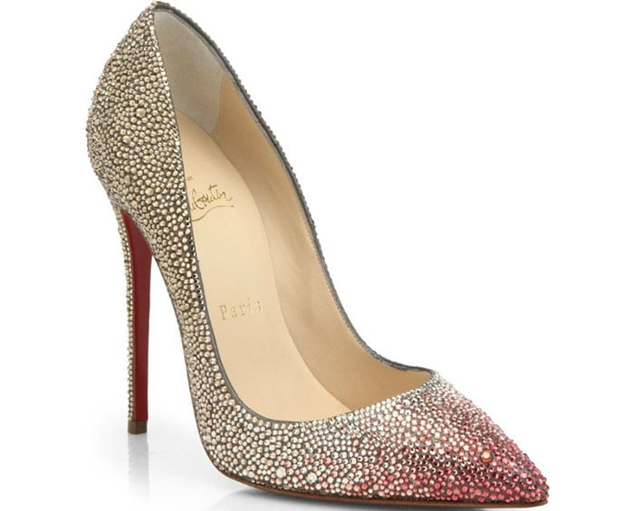 Christian Louboutin Ombre Crystal Leather Pumps in Gold/Pink