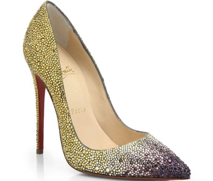 Christian Louboutin Ombre Crystal Leather Pumps in Yellow/Purple
