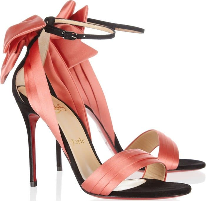 Christian Louboutin Pink Vampanodo 100 Suede and Sateen Sandals