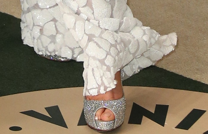 Christina Aguilera's toes in peep-toe Very Riche Strass pumps