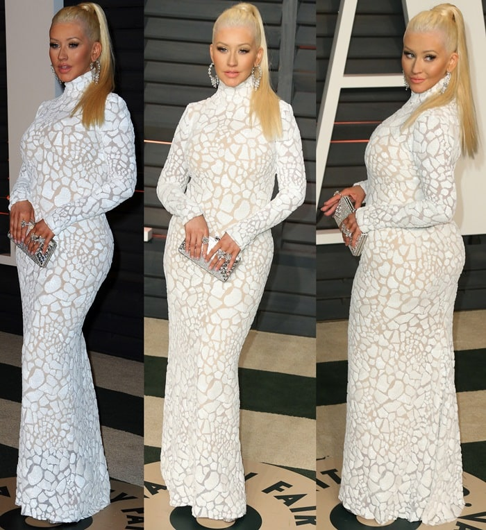 Christina Aguilera's white conservative dress from Marc Bouwer