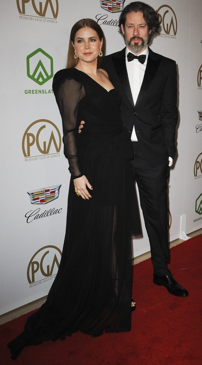 Darren Le Gallo and his wife Amy Adams at the 2019 Producers Guild Awards at the Beverly Hilton Hotel in Beverly Hills, California, on January 19, 2019