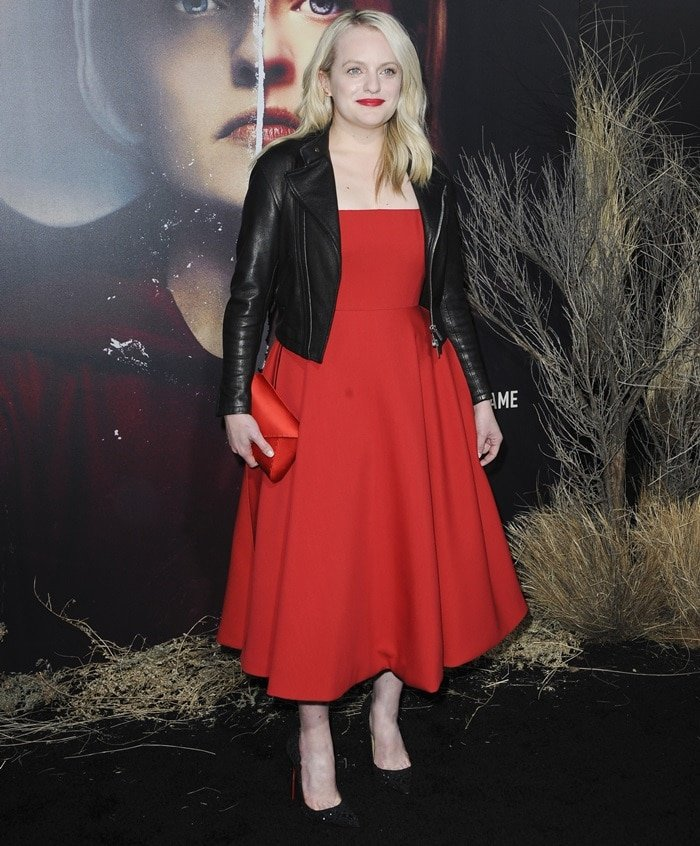 "Elisabeth Moss wearing ""Top Vague"" heels featuring Swarovski crystals in a swirl pattern"
