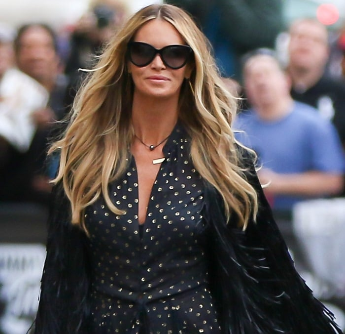 Elle Macpherson arriving at the ABC studios for an interview on Jimmy Kimmel Live! in Los Angeles on January 28, 2015