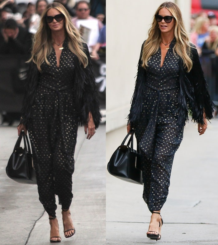Elle Macpherson's sheer gold dotted jumpsuit from Stella McCartney featuring long gathered bubble sleeves