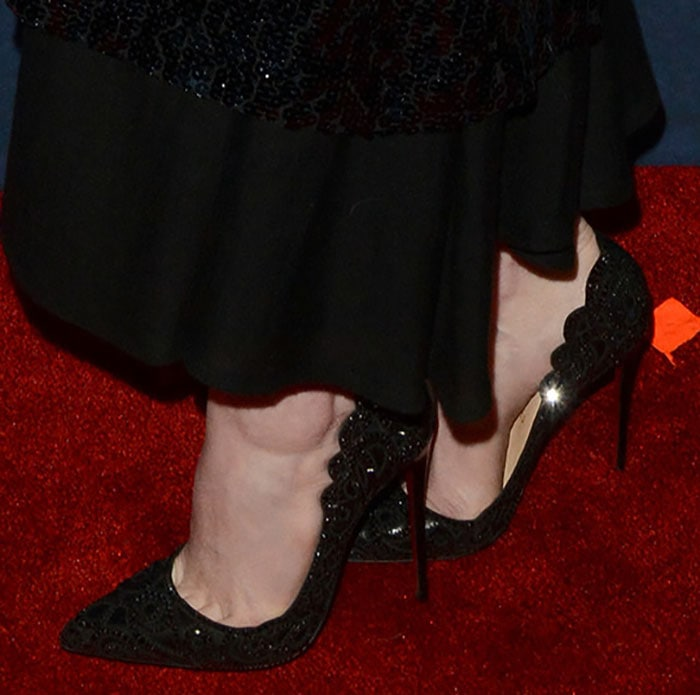 "Emma Stone wearing Christian Louboutin ""Top Vague"" pumps"