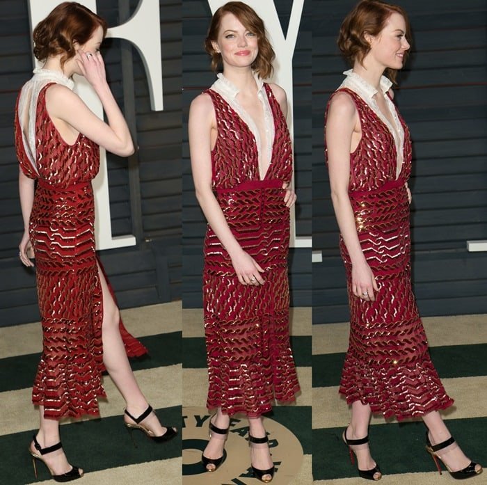 Emma Stone flashed her legs in a plunging red sequin embroidered dress