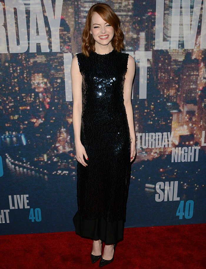 Emma Stone in a shimmering sequin-embellished sleeveless dress from Christian Dior's Pre-Fall 2015 collection