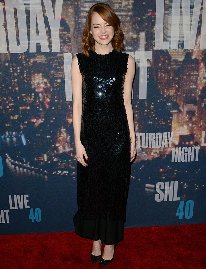 Emma Stone ina shimmering sequin-embellished sleeveless dress from Christian Dior's Pre-Fall 2015 collection