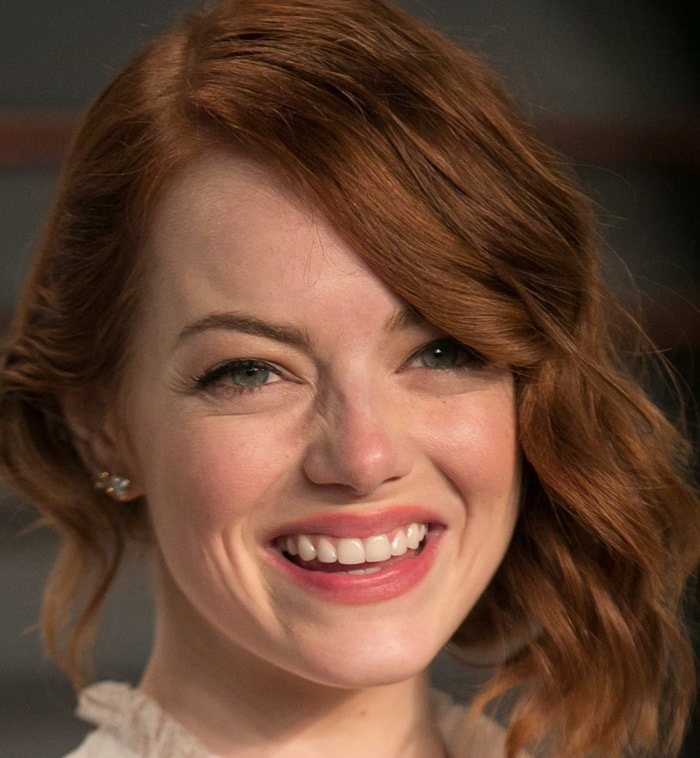 Emma Stone at the 2015 Vanity Fair Oscar Party following the 2015 Oscars in Beverly Hills on February 22, 2015