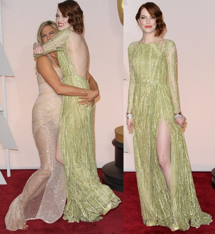 Emma Stone and Jennifer Aniston at the 2015 Academy Awards held at the Dolby Theatre in Hollywood on February 22, 2015