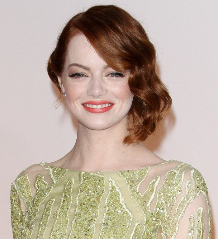 Emma Stone's green Elie Saab dress featuring illusion detailing and chartreuse beading