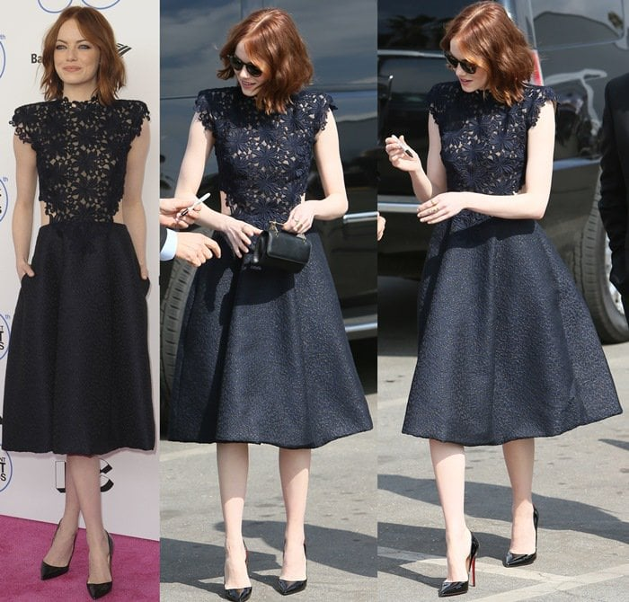 Emma Stone flaunted her sexy legs in Christian Louboutin