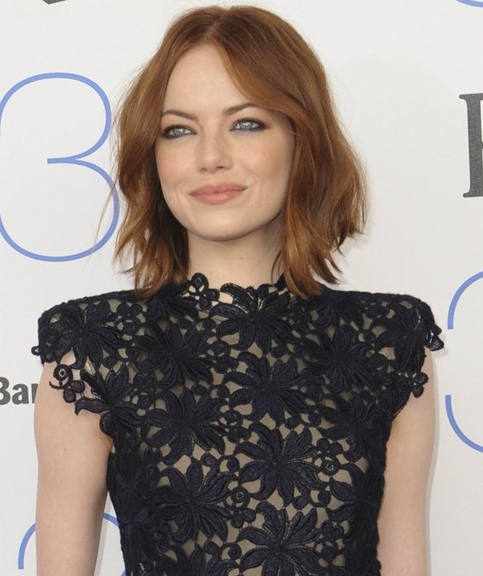 Emma Stone's guipure lace textured jacquard A-line dress