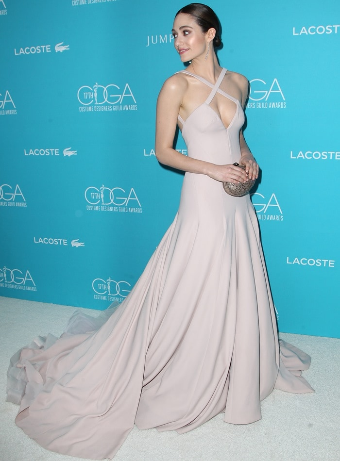 Emmy Rossum came dressed in a head-turning pale pink gown from Donna Karan Atelier that left us completely speechless