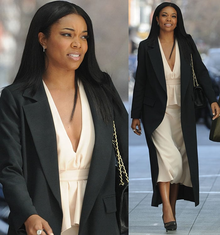 Gabrielle Union's raven hair was styled down