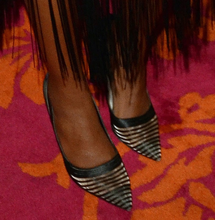 Gabrielle Union's DVF pumps feature sheer mesh inserts