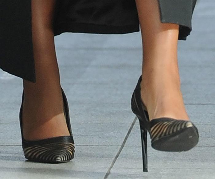 Gabrielle Union's hot feet and legs in pumps by Diane von Furstenberg