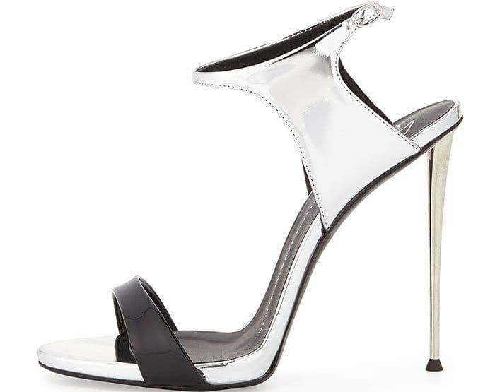 Black Patent/Metallic Silver Ankle-Wrap Sandals