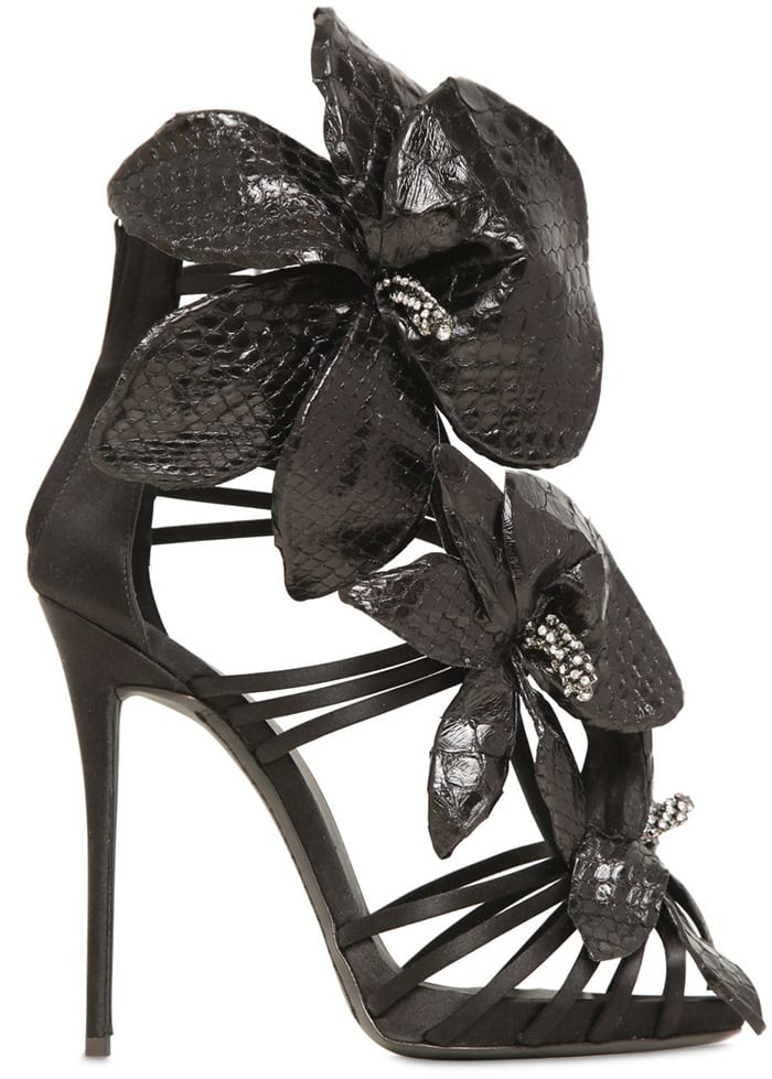 Giuseppe Zanotti Black 120Mm Silk Satin & Python Sandals