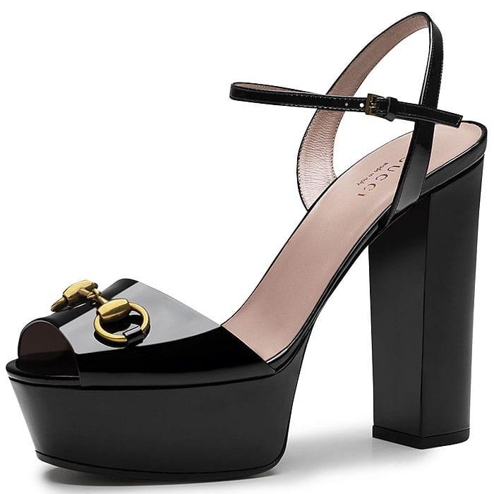 """Gucci """"Claudie"""" Patent Platform Sandals"""