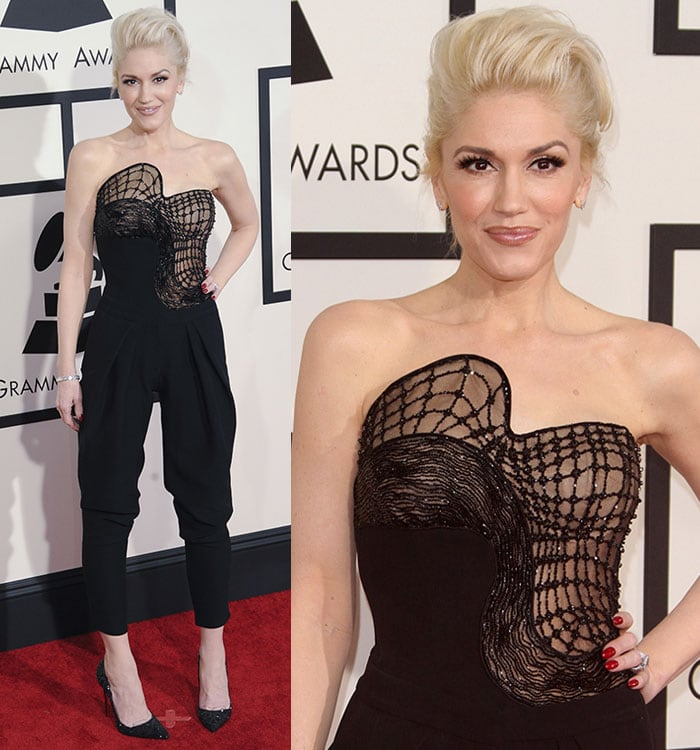 Gwen Stefani inan Atelier VersaceSpring 2015 black jumpsuit featuring a structured bodice with mesh inserts and sparkling embellishments