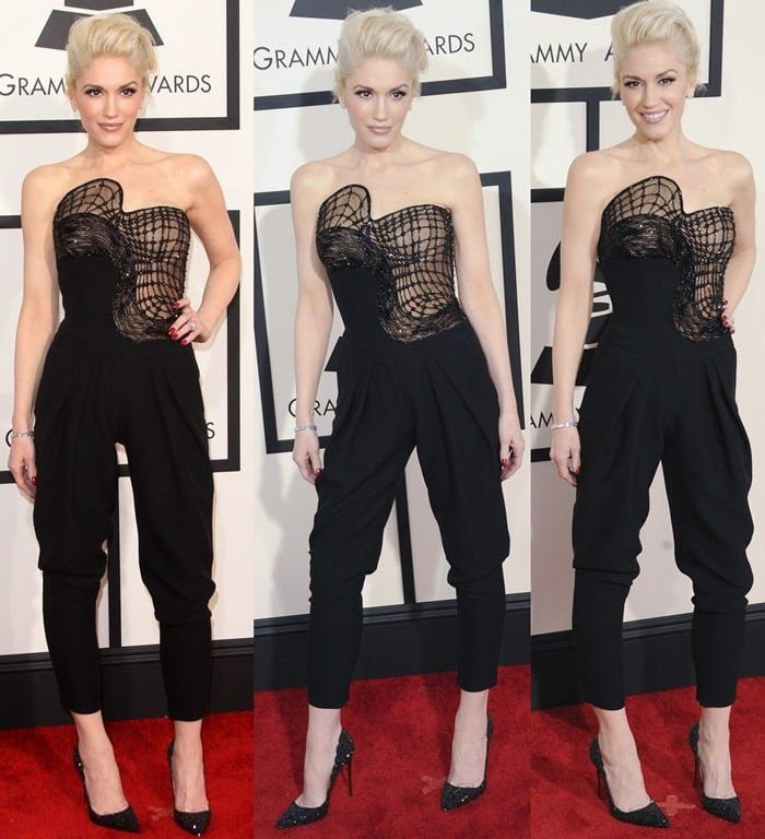 Gwen Stefani on the red carpet at the 2015 Grammy Awards
