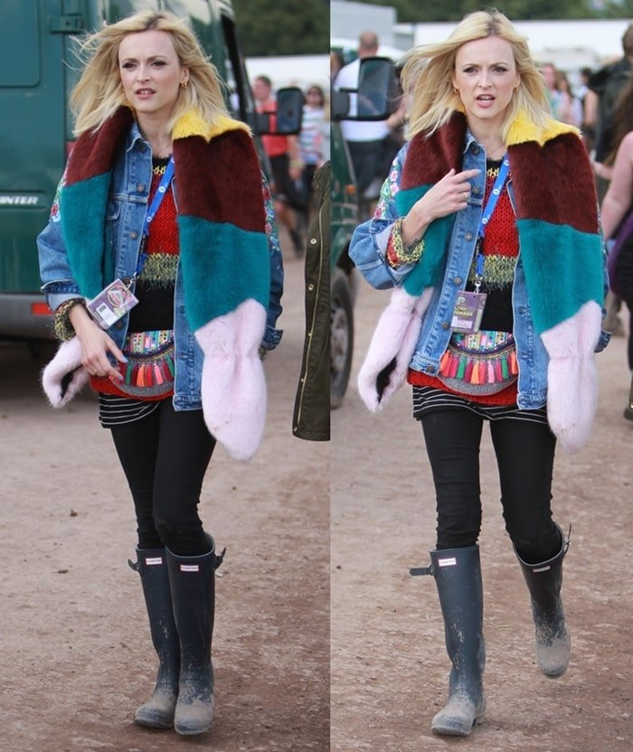 Fearne Cotton wearing Hunter boots at the 2014 Glastonbury Festival