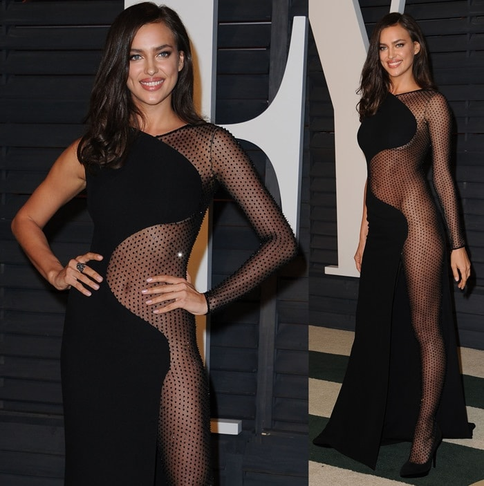 Irina Shayk styled her raunchy dress with a mesh bodysuit