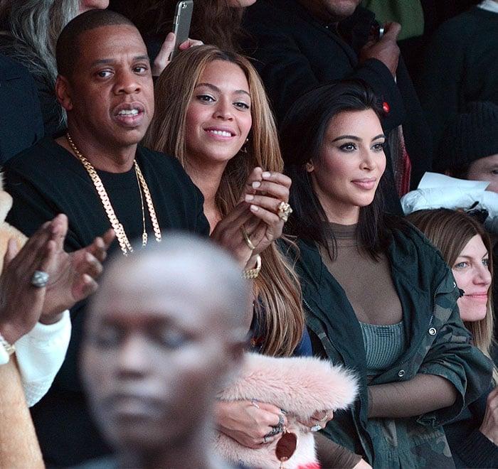 Jay-Z, Beyonce, and Kim Kardashian at the Kanye West's Adidas Originals x Kanye West Yeezy fashion show