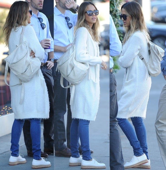 Jessica Alba in a Pam & Gela t-shirt paired with blue jeans