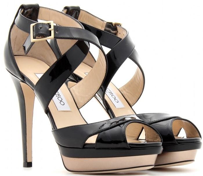 Jimmy Choo Black Kuki Patent Leather Platform Sandals