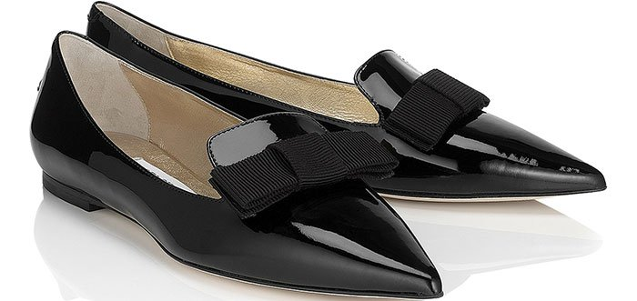 "Jimmy Choo ""Gala"" Black Patent Leather Pointy-Toe Flats"