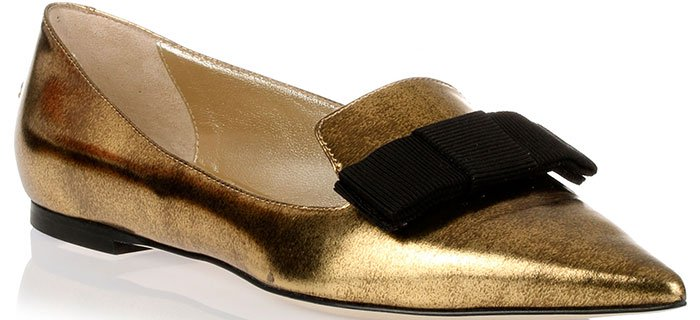 "Jimmy Choo ""Gala"" Mirror Gold Leather Ballerina Flats"