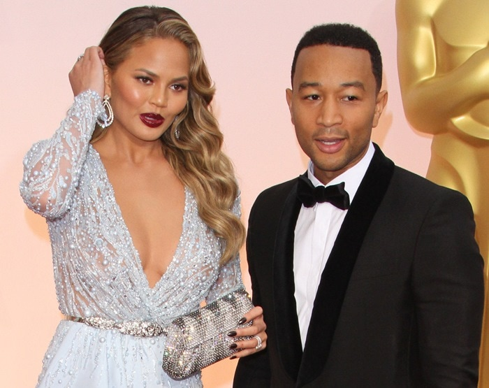 Chrissy Teigen and John Legend at the 2015 Academy Awards held at the Dolby Theatre in Hollywood on February 22, 2015