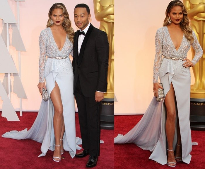Chrissy Teigen's pale blue dress with a thigh-high slit and beaded bodice detailing