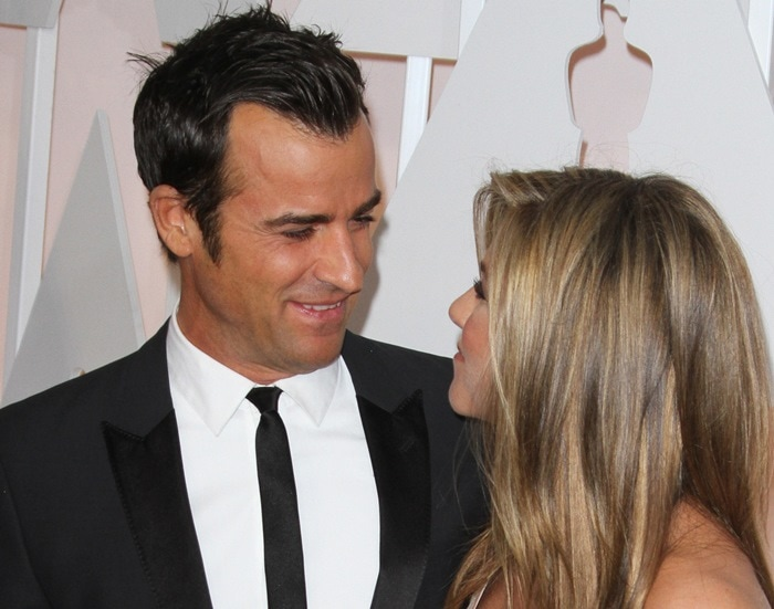 Justin Theroux and Jennifer Aniston at the 2015 Academy Awards held at the Dolby Theatre in Hollywood on February 22, 2015