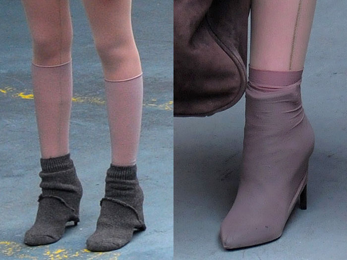 Socks and stockings stretched over the shoes at the Yeezy fashion show