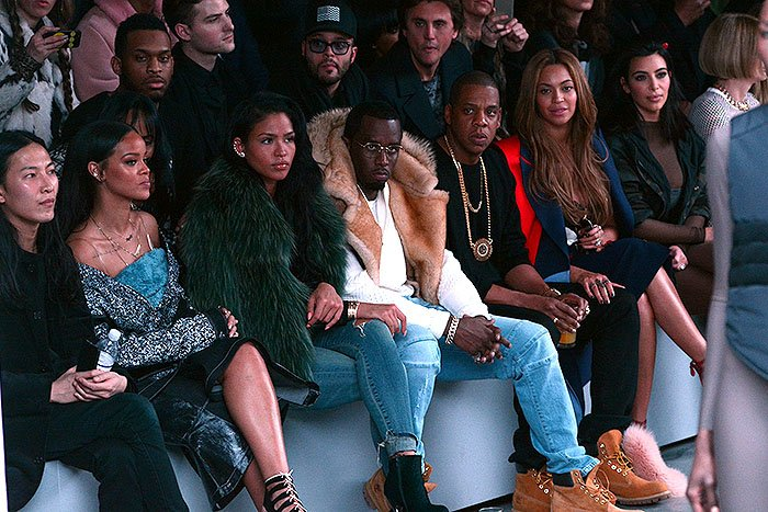 A shot of the star-studded front row at the Adidas Originals x Kanye West Yeezy fashion show