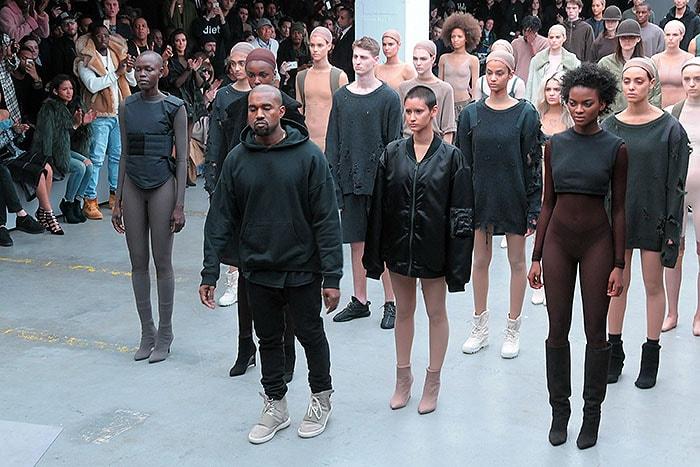 Kanye West taking his bow at the Adidas Originals x Kanye West Yeezy fashion show
