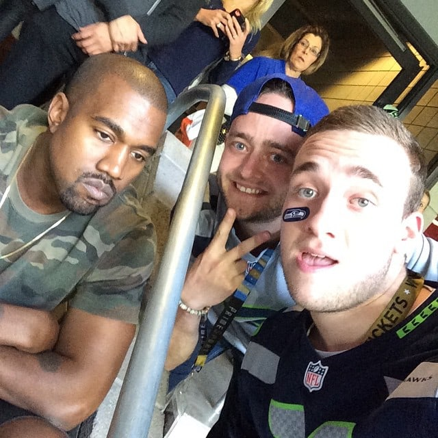 Two Seahawks fans snapped a picture with Kanye West